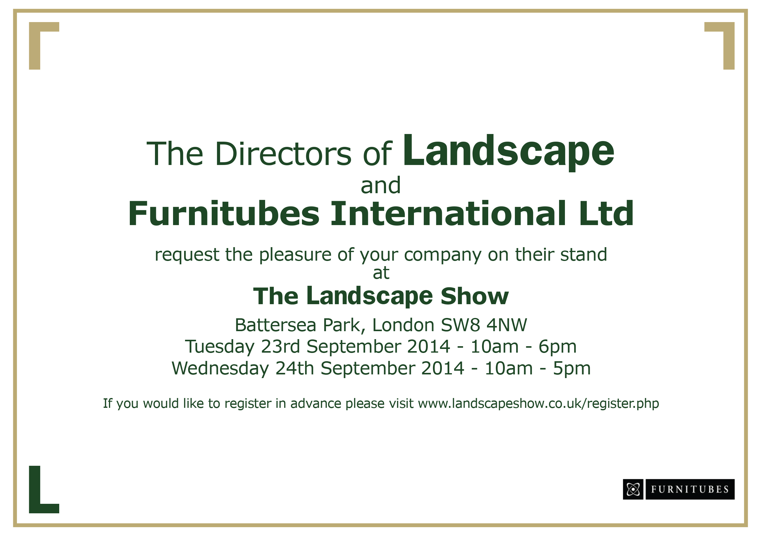Furnitubes Invite to Landscape show