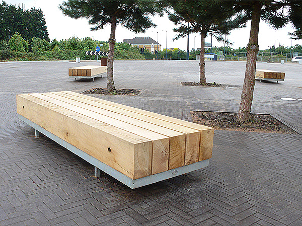 Landscape timber garden bench for Landscape timber bench