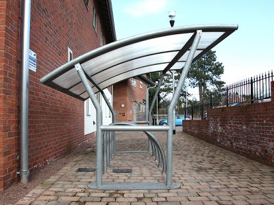 ACA800TP Academy galvanised steel cycle shelter with polycarbonate roof, with Fin cycle stands, Oxford