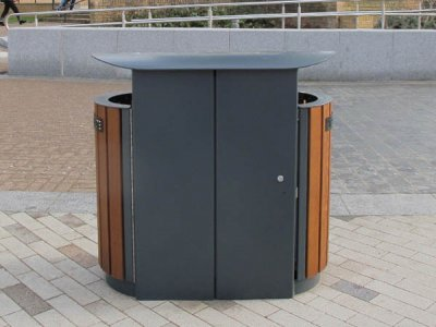 ARC 5DT - PPC dual Arca litter bin with lid and iroko timber slats