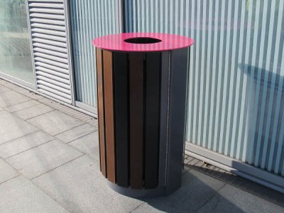 ARC 4T - Arca open top litter bin with timber slats. (Bespoke version with modified softwood slats in variable colour stains)