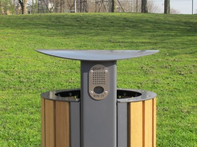 ARC 5T - PPC grey Arca litter bin with iroko timber slats, stainless steel lid, aperture rim and cigarette stubber