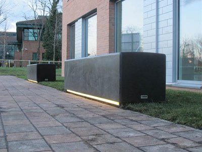 BLR200 SO Blyth concrete bench with LED lighting strip