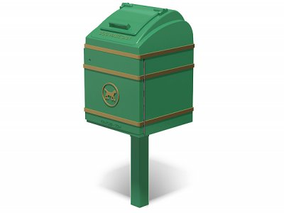 Boxer Cast Iron Dog Waste Bin - painted green with gold highlighting