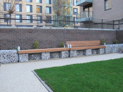 Elements® Gabion 2.4m Seat and Bench in continuous runs