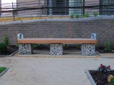 Elements® 2.4m Gabion Bench with armrests