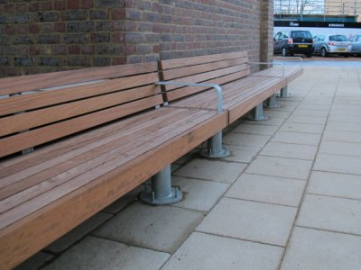 Elements seat with timber slats, timber fascia and posts support in continuous runs (special)