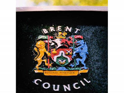 Cast Aluminium Location Map, Handpainted Cast 3D Raised Brent Crest