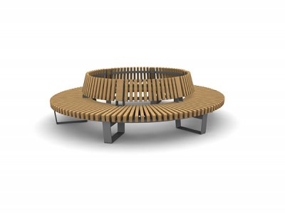 RailRoad Delta seating assembly comprising curved Start & End modules, with internal backrest.