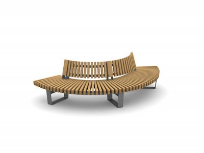 RailRoad Delta seat assembly comprising curved Start & End modules with curved internal backrests.