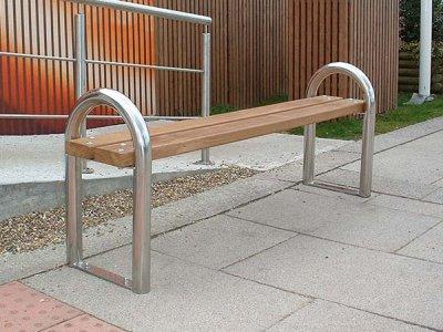 DST 6 District 3 person bench with stainless steel standards