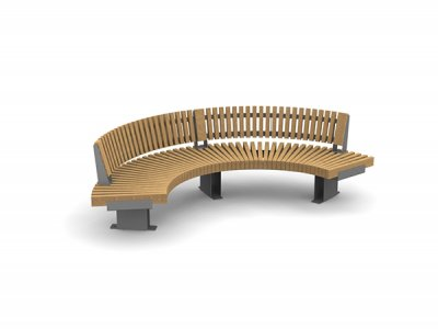 RailRoad Edge seat assembly comprising curved Start & End modules with curved external backrests.
