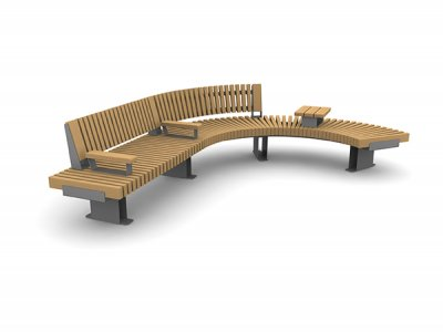 RailRoad Edge bench assembly comprising straight Start & curved Mid & End modules, with part-length backrest, timber-topped armrests and tablet surface.
