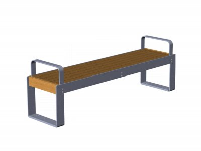 Elements 1.8m bench with timber slats, goalpost support and armrests (ELMM100N1599-BENCTNG)