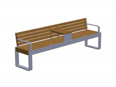 Elements 2.4m seat with timber slats, goalpost support, end armrests, timber topped tablet surface and anti-skate device affixed (ELEM100N1510-46N5MTWG)
