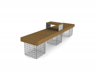 Elements 2.4m bench with timber slats, timber fascias, gabion supports and timber topped tablet surface