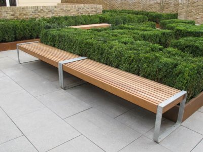 Two Elements 1.8m bench with open frame supports joined together to create a continuous seating run