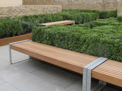 Elements 1.8m bench with timber slats, timber fascias, open frame supports in galvanised steel