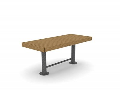 Elements 1850mm long x 810mm standard table with timber slats, timber fascias and galvanised post supports