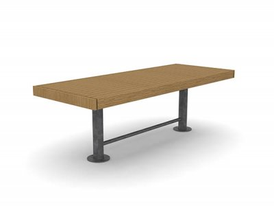 Elements 2450mm long x 960mm wide table with timber slats, timber fascias and stainless steel post supports