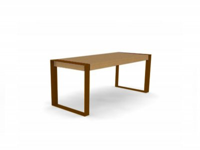 Elements 2000mm long x 810mm standard table with timber slats, timber fascias and PPC picture frame supports