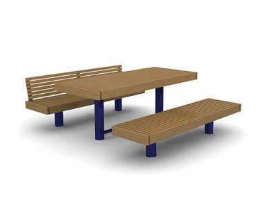 Elements 2450mm long x 810mm standard picnic table, timber slats, timber fascias and PPC blue post supports shown with bench and 1 no. bench with backrest. Root-fixed.