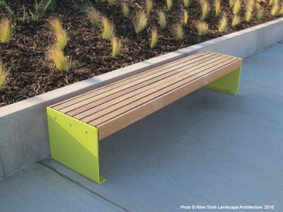 Elements 2.4m bench with medium side-to-side timber slats and powder coated plate ends