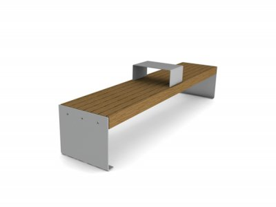 Elements 2.4m bench with timber slats, timber fascias, plate end supports and steel tablet surface (ELES112P7070-BENCHTNG)