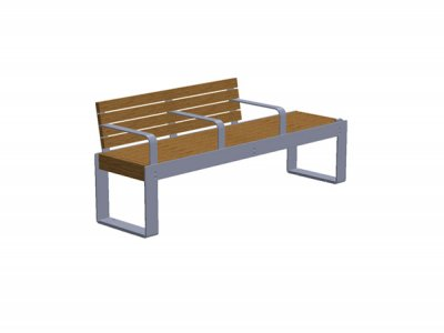 Elements 1.8m seat and bench combination with timber slats, goalpost support and armrests (ELMM100N1610-2635ENP)