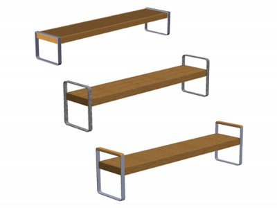 3 variable Open Frame supports: standard open frame with no arms, open frame with integral arms or open frame with integral arms and timber top