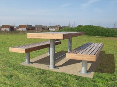Elements 1850mm long x 810mm standard picnic table with timber slats, timber fascias and steel galvanised post supports, shown with 2 benches