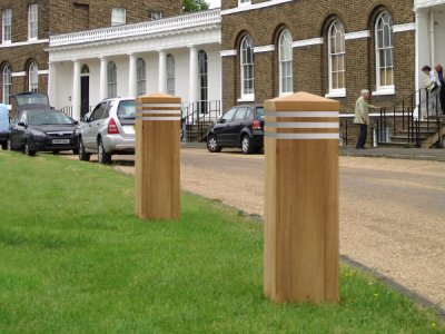 Epping secureplus+ bollard, timber sleeve over PAS 68 core