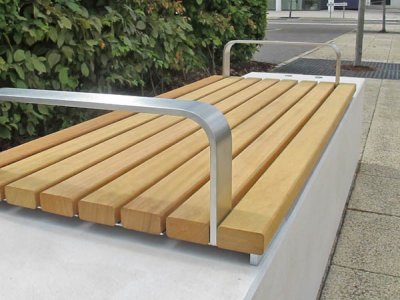 Detail of Fortis 2 person bench platform with armrest