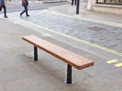 MAR B7 Marylebone cast ductile iron & timber bench, removable with F1 sockets