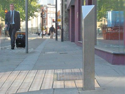 Pinnacle stainless steel bollard in satin polish