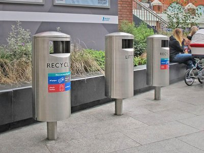 ZEN560 Zenith stainless steel post mounted litter and recycling bins