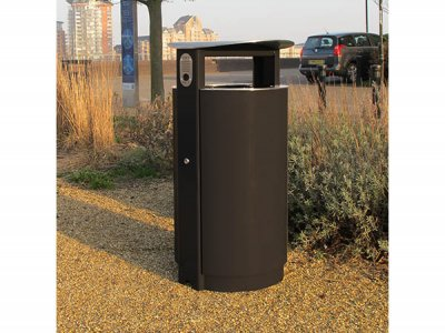 ARC 5 - PPC black Arca litter bin with stainless steel lid, aperture rim and cigarette stubber