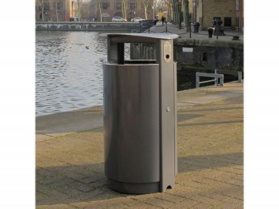 ARC 5 - PPC grey Arca litter bin with stainless steel lid, aperture rim and cigarette stubber