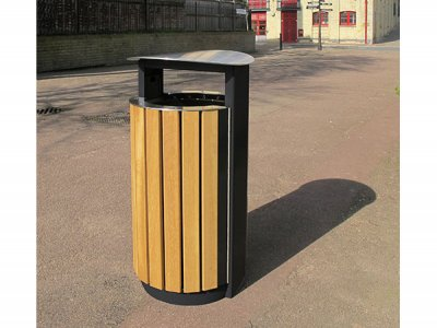 ARC 5T - PPC black Arca litter bin with iroko timber slats, stainless steel lid and aperture rim