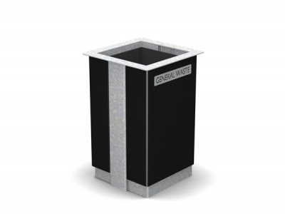 ARC 6 - Galvanised finish steelwork Arca litter bin with PPC black panel & laser cut graphics