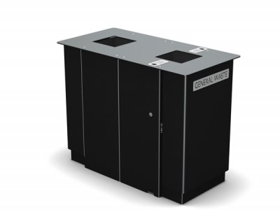 ARC 7D  - PPC black dual Arca bin with cigarette stubber & laser cut graphics