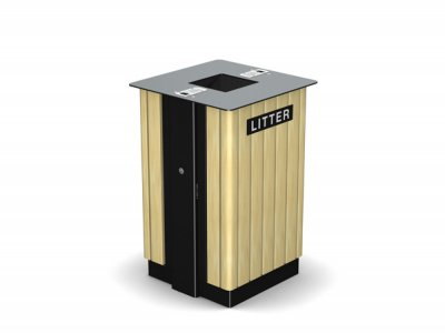 ARC 7T -PPC black steelwork Arca litter bin with iroko timber slats, cigarette stubber & laser cut graphics