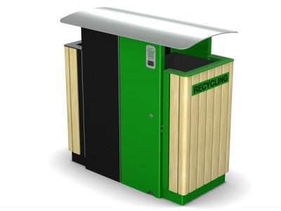 ARC 8DT - PPC dual Arca litter bin with stainless steel lid, iroko timber slats, cigarette stubber & laser cut graphics