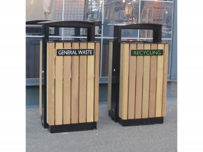 ARC 8T - Arca litter bin with lid, PPC black steelwork with iroko timber slats & laser cut graphics