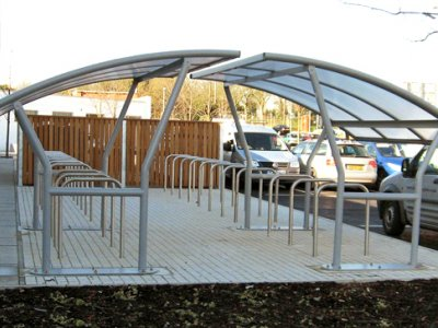 ACA800TP Two Academy cycle shelters used to create a large capacity cycle storage facility