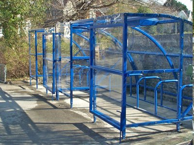 ALP821-8150 EF Alpine cycle shelter with polycarbonate roof and extended front