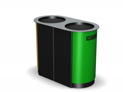ARC 3D -PPC black dual Arca litter bin with PPC geen panels