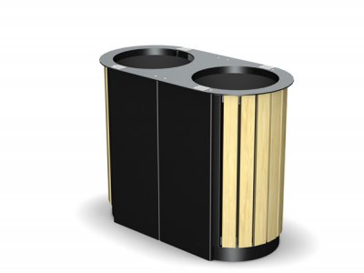 ARC 3DT - PPC black dual Arca litter bin with iroko timber slats and cigarette stubber