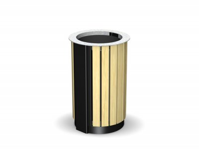 ARC 3T - PPC black body Arca litter bin with iroko timber slats