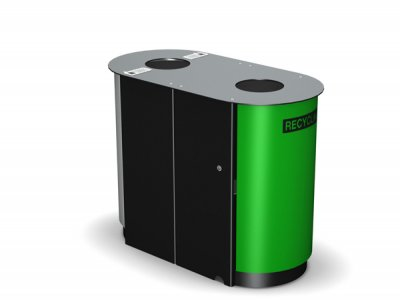ARC 4D - PPC black frame dual Arca litter bin with PPC green panels and cigarette stubber